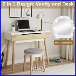 2-Drawers Makeup Dressing Table, Vanity set with Lighted Mirror & Cushioned Stool