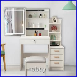 4 Drawers With Sliding Mirror Makeup Vanity Table and Stool Set Dressing-White