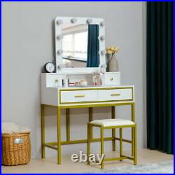 4 Jewelry Drawers Vanity Table Set with 10 LED Lights Mirror Makeup Dressing