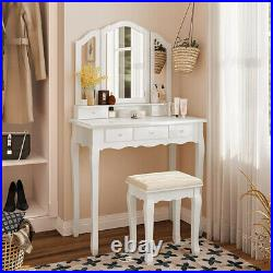 5 Drawer Vanity Table Set Makeup Mirror Dressing Table & Cushioned Stool White