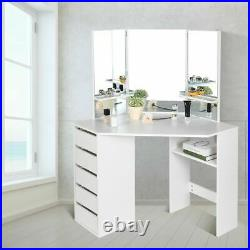 5 Drawers 3 Folding Mirrors Vanity Makeup Dressing Table Set For Bedroom White