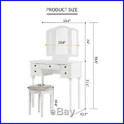 5 Drawers 3 Mirrors Vanity Makeup Dressing Table Set With Stool Wood Desk White