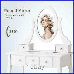 5 Drawers Vanity Dressing Desk Makeup Table and Stool Set Dresser with Mirror