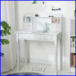 6 Drawers Makeup Vanity Console Table Study Table Writing Desk with Hutch USB Port