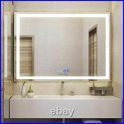 Anti-Fog LED Bathroom Mirror Makeup Vanity Mirror Dimmer Touch Time Display