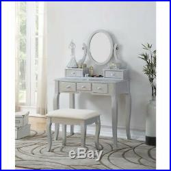 Ashley Wood White Makeup Vanity Table And Stool Set Jewelry Storage New