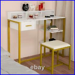 Bedroom Vanity Table Makeup Dressing Table with 10 Led Lighted Mirror
