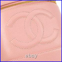CHANEL CC Cosmetic Vanity Hand Bag Pink Caviar Skin Leather VTG AK36799d