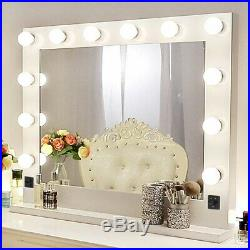 Chende White Hollywood Makeup Vanity Mirror with LED Light Stage Large Beauty