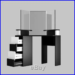 Cindy Corner Vanity Table with LED Makeup Desk with Mirrors with Lights