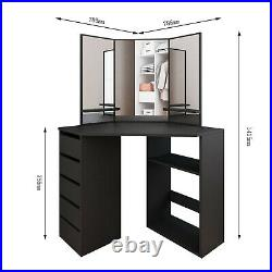 Corner Makeup Vanity Table 3 Mirrors And 5 Drawers Dressing Table Jewelry Desk