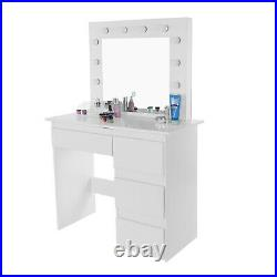 Dimmable LED Vanity Set With Lighted Mirror With 4 Drawers Dressing Makeup Table