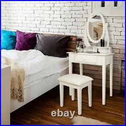 Drawer Vanity Table Set Dressing Desk with Cushioned Stool & Mirror Makeup Table