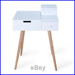 Dressing Table Vanity Desk Makeup Storage with Mirror and 2 Drawers, White