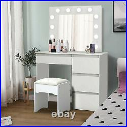 Dressing Table Vanity Makeup Desk with Dimmable LED Lighted Mirror 4 Drawers US