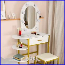 Dressing Table Vanity Makeup Desk with LED Lighted Mirror with 3 Shleves Bedroom