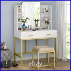 Dressing Table with Stool and Large Frameless Mirror Makeup Vanity Desk BrandNew