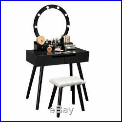 Dressing Vanity Table Set Makeup 10 Led Lighted Desk with Mirror 4 Drawers