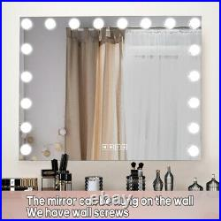 FENCHILIN 18 Bulbs Bluetooth Large Hollywood Lighted Vanity Makeup Mirror, White