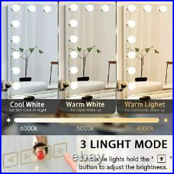FENCHILIN Hollywood Lighted Makeup Vanity Mirror Large with Bluetooth LED Lights