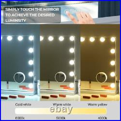 FENCHILIN Large Vanity Mirror with Lights Hollywood Lighted Makeup Mirror White