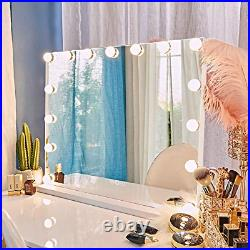 FENCHILIN Large Vanity Mirror with Lights and Blutooth Speaker, Hollywood Makeup
