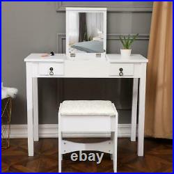 Flip-top Mirrors Vanity Makeup Dressing Table Set With Stool Wood Desk White