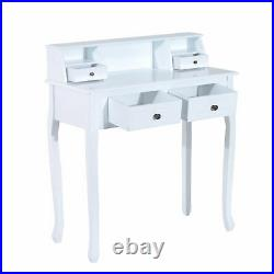 HOMCOM Dressing Table Chic Vanity Make-Up Desk with 4 Drawers Storage Solid Wood