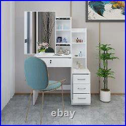 Hidden Storge Vanity Set Makeup Dressing Table 4 Drawers With Stool And Mirror