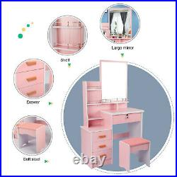 High Quality Dressing Table Makeup Vanity Set With Cushioned Stool Mirror 4 Drawer