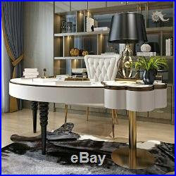 Homary Bedroom White Makeup Vanity Table with Flip Top Mirror Wood Office Table