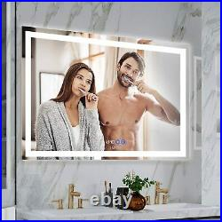 LED Bathroom Mirror Makeup Vanity Mirror Dimmer Touch Anti-Fog Time Display