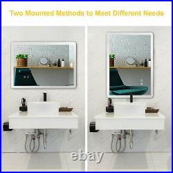 LED Lighted Bathroom Wall Mounted Mirror Illuminate Light Touch Makeup Vanity