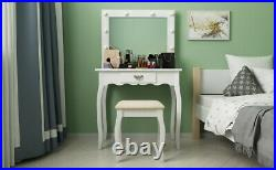 LED Lighted Vanity Table Set Makeup Table with Drawer & Mirror & Stool White