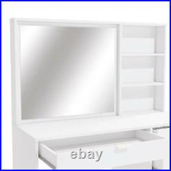 Large Makeup Vanity Dressing Table Desk with Mirror in White Finish And 5 Drawers