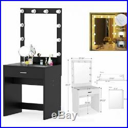 Lighted Drawer Vanity Table Set with Huge Mirror for Bedroom Makeup & Hair Salon