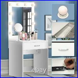 Lighted White Vanity Table Set with Mirror & Warm White Bulbs for Bedroom Makeup