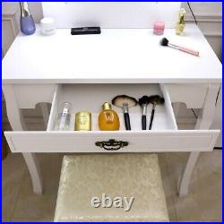Makeup Dressing Desk Vanity Table with 10 LED Lights with Generous Mirror White