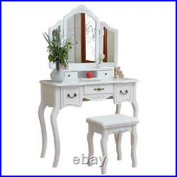 Makeup Dressing Table Vanity Set Stool With Tri-fold Mirror for Bedroom White