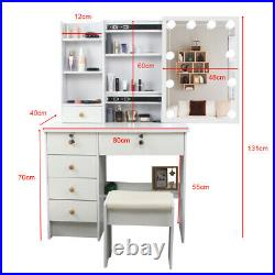 Makeup Dressing Table Vanity Set With Mirror 10 Led Lights for Bedroom 6 Drawers