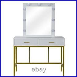 Makeup Dressing Table Vanity Set With Mirror 9 Led Lights for Bedroom White