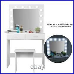 Makeup Dressing Table Vanity Set With Mirror Led Lights for Bedroom White