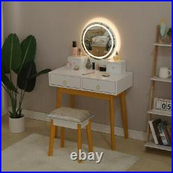 Makeup Dressing Table Vanity Set With Mirror Touch Screen Stool 3 lights Bedroom