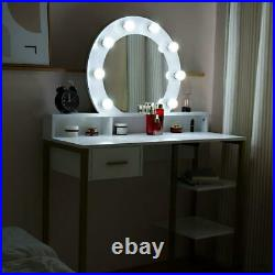 Makeup Dressing Table Vanity Set with 10 LED Lights with Mirror White