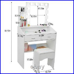 Makeup Dressing Table Vanity Set with 10 LED Lights with Stool and Mirror White