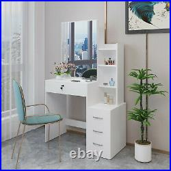 Makeup Dressing Table Vanity Set with Removable Mirror & Drawer Storage Shelf US