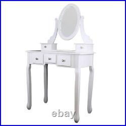 Makeup Dressing Table Vanity Set withStool& Mirror 5 Drawers Jewelry Desk White HM