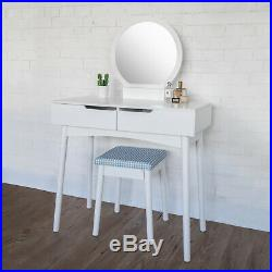 Makeup Dressing Table Vanity Table Set with Double Drawers Round Mirror White
