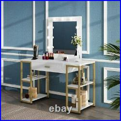 Makeup Dressing Table with Large Drawer and Open Shelf Lighted Mirror Vanity Set