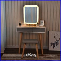 Makeup Dressing Vanity Table Stool Set Drawers With LED Mirror Touch Control
